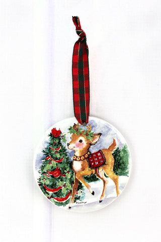 CHRISTMAS REINDEER PORCELAIN ORNAMENT