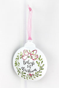 BABY'S FIRST CHRISTMAS (PINK) ORNAMENT