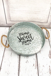 HOME SWEET HOME GALVANIZED METAL SERVING TRAY