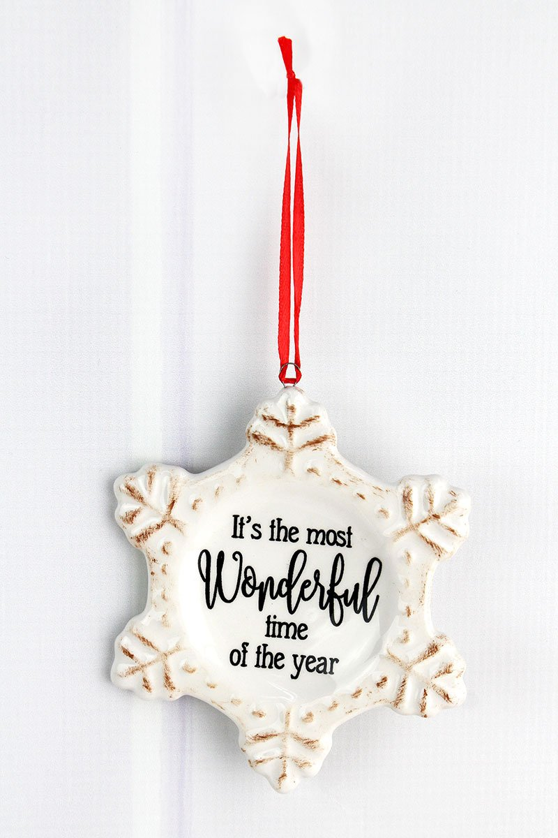 MOST WONDERFUL TIME SNOWFLAKE ORNAMENT