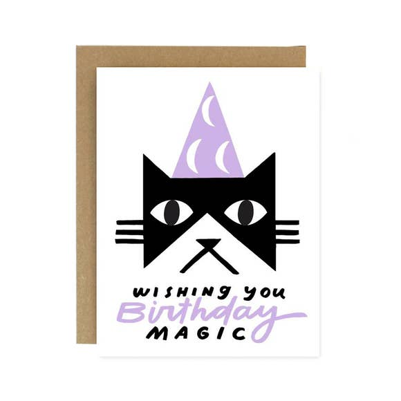 BIRTHDAY MAGIC BLACK CAT CARD