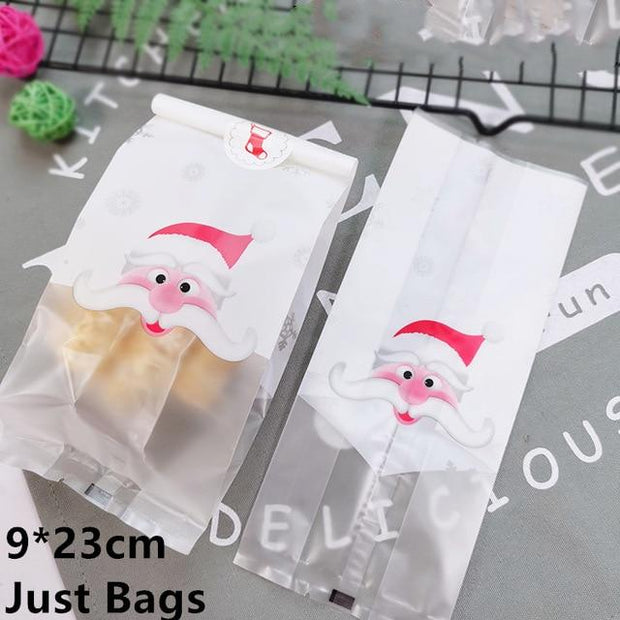 LBSISI Life 50pcs Christmas Candy Cookie Gift Bag Self Stand Holders Bake Biscuit Hand Made DIY Jewelry Plastic Packaging Bags
