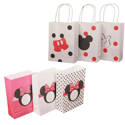10pcs/lot Mickey Minnie Party Decorations kraft Paper gift bag plastic packaging wedding box paper bags Kids Party Supplies
