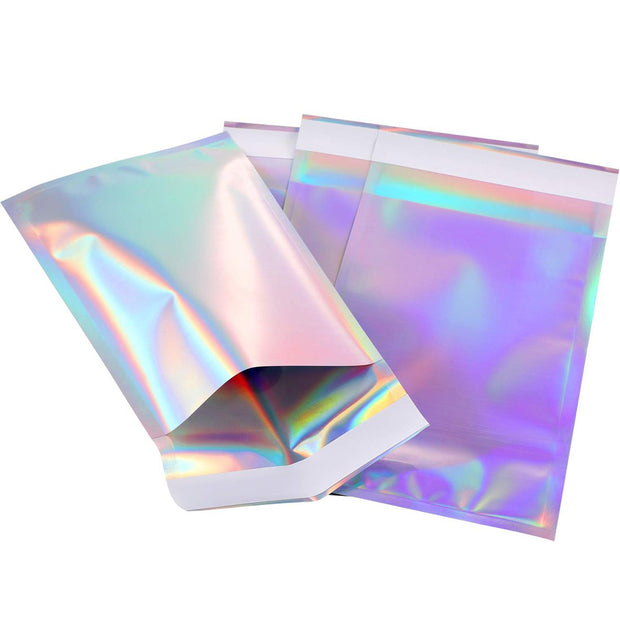 50pcs Laser Self Sealing Plastic Envelopes Mailing Storage Bags Holographic Gift Jewelry Poly Adhesive Courier Packaging Bags