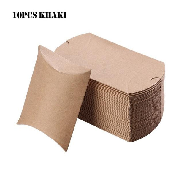 10Pcs/set Colorful Kraft Paper Candy Box Gift Bag Wedding Gift Baby Shower Favors Birthday Party Christmas Packaging Supplies