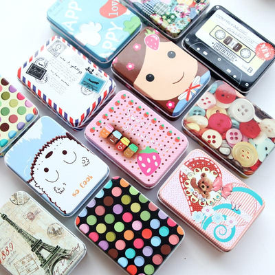 Mini Cute Cartoon Tin Metal Drawer Receive Storage Box Candy Box Case Home Organizer Jewelry Container Gift Home