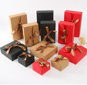 20pcs/lot Kraft boxes with ribbon White Black  red Candy Bag Wedding Gift Box Package Birthday Party Decoration Bags