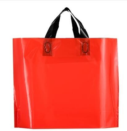 5pcs Colored Plastic Bags with Handle Shopping Bag Large Boutique Clothes Gift Packaging Bag Wholesale