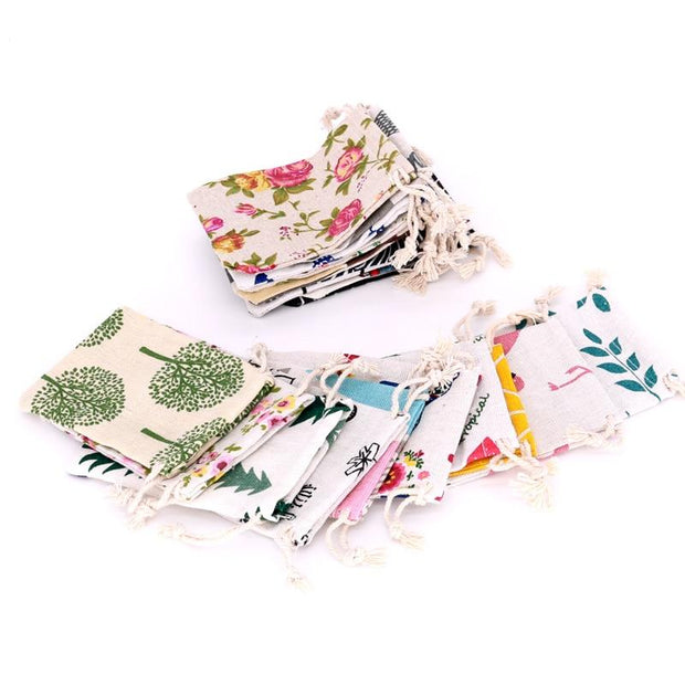 5pcs/lot Small Cotton Bags 8x10 9x12cm Linen Drawstring Gift Bag Muslin Pouch Sachet Candy Gift Jewelry Packaging Bags