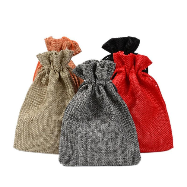 Hot 50PCS Linen Jute Drawstring Pouch Cotton Mix Color Packages for Packaging Gift Wedding Party Christmas Candy Bags (4 size)