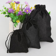5Pcs/lot Black Color Decorative bags Linen Cotton Drawstring Bags Christmas/Wedding Gift Pouch Product Packaging Bags