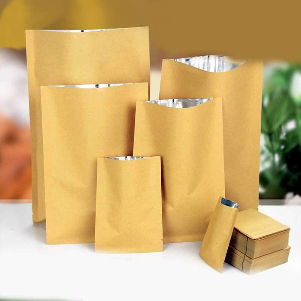 300pcs small Kraft paper brown silver Foil Organ Bag Pollen Tea Storage Seal Pockets cotton Packaging Open Top vacuum seal Bags