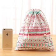 New 2pcs Baby Toys Storage Bags with Drawstring Canvas Home Organzier for Kids Laundry Clothes Cute Cotton Print Packaging Bag