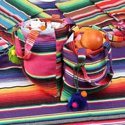 Cotton Gift Bag with Handles Colorful Mexican Tote Favor Bags Cookies Candy Packaging Holder Mexican Party Supplies