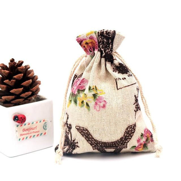 5pcs/lot Linen Cotton Bag 10x14 13x18 15x20cm Muslin Cosmetics Gifts Jewelry Packaging Bags Cute Drawstring Gift Bag & Pouches