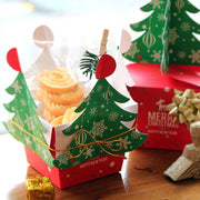 1PC 3D Christmas Tree Candy Gift Paper Boxes Xmas New Year Navidad Party DIY Gift Paper Box Packaging Party DIY Favor With Bell