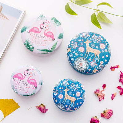 Girls Gifts Desk Organizer Flamingos Pattern Round Jewelry Cases Animal Storage Case 1 PC Tinplate  Mini Tin Box Storage Boxes