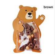 10Pcs Cartoon Animal Bear Rabbit Card Candy Packaging Transparent Plastic Bag Wedding Party Decor Kids Birthday Shower A40