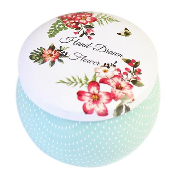 Rose Tea Pot Tin Box Small Fresh Home Garden Personality Candy Box Drum-shaped Candy Cookie Box Festive Party Supplies