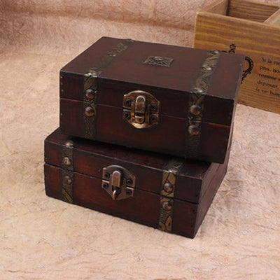 Vintage Jewelry Earrings Necklace Bracelet Storage Organizer Wooden Case Gift Box