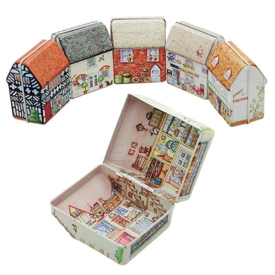 Wedding Party Gift Box Vintage House Shape Mini Gift Package Tin Box Candy Baking Cookies Biscuit Case Decorations for Home