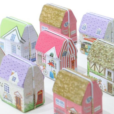 2019 NEW Mini Vintage House Tinplate Shape Storage Tin Box Coin Bag Jewelry Box Lovely Print Storage Box Girls 6design mix pack