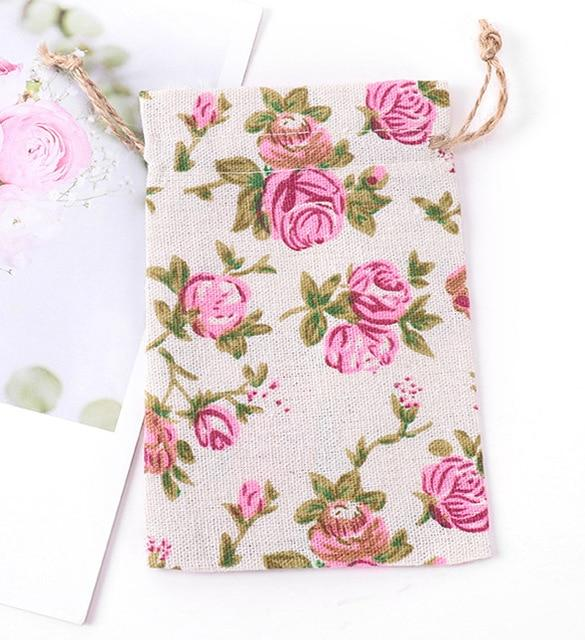 Bags Cotton and Linen Rope Bags Gift Bags Wedding Party Gift Packaging Snack Bags Cotton and Linen Printed Bouquet Pockets
