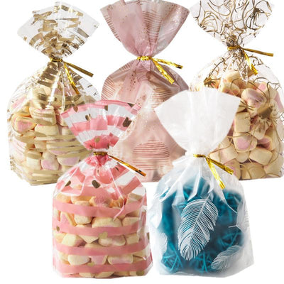 50Pcs Plume Plastic Bag Creative Cookie Candy Bags Wedding Birthday Favors Easter Birthday Party Snack Gift Bag Packaging Gift