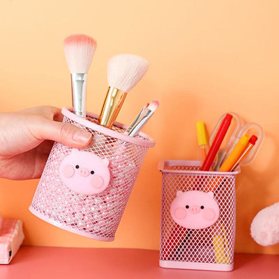 Cartoon Pink Pig Iron Pen Holder Office Organizer Eyebrow Lip Brush Cosmetics Makeup Brushes Tool Cup Holder Case Container