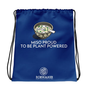 Miso Proud to be Plant based Drawstring Bag-Blue