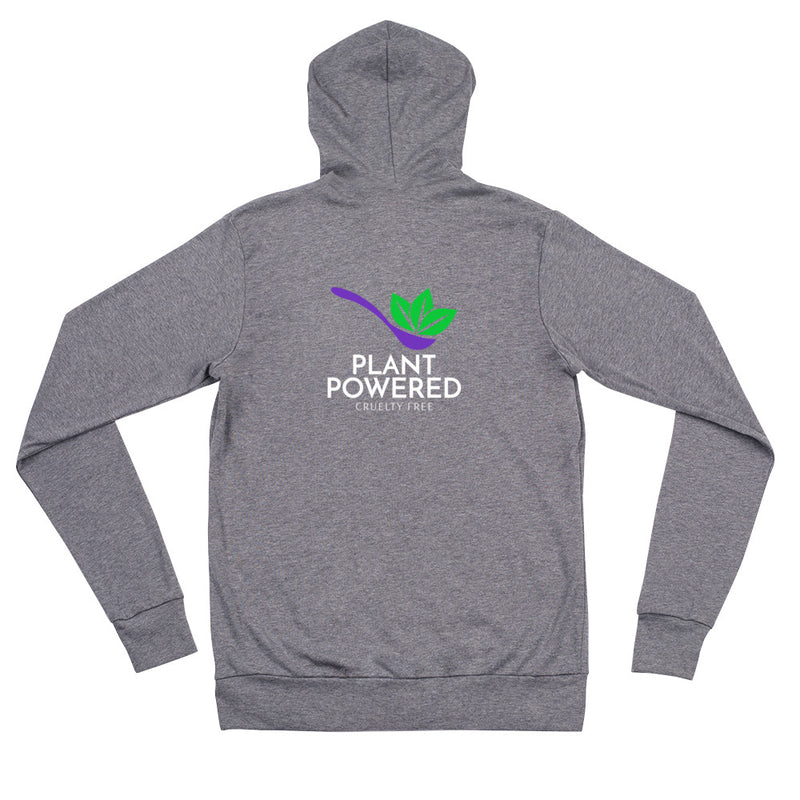 Plant Powered back/front Unisex zip hoodie