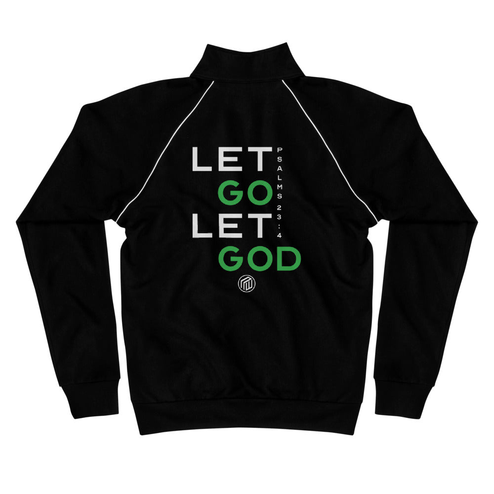 Let Go Let God Piped Fleece Jacket