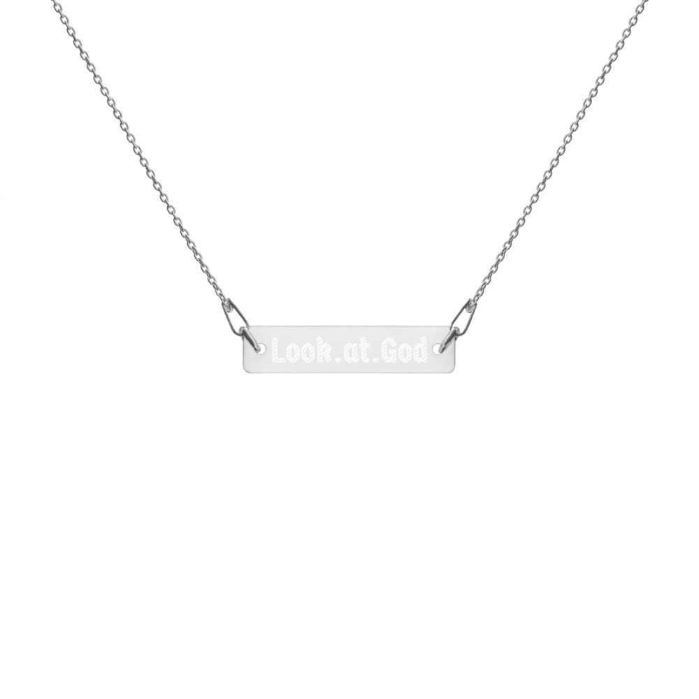 Look at God Engraved Silver Bar Chain Necklace