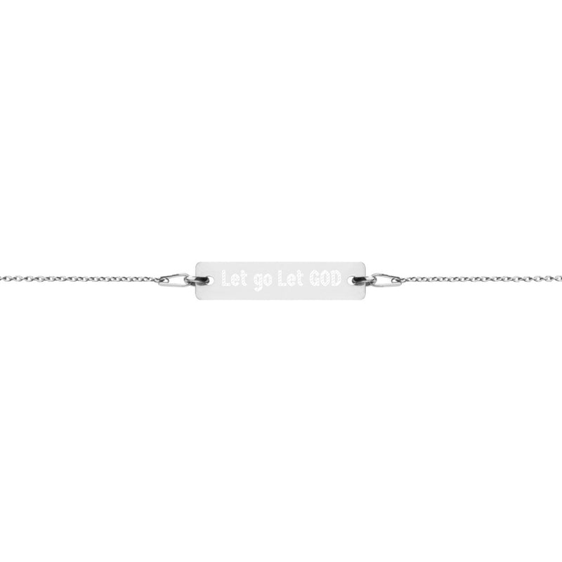 Let Go Let GOD Engraved Silver Bar Chain Bracelet