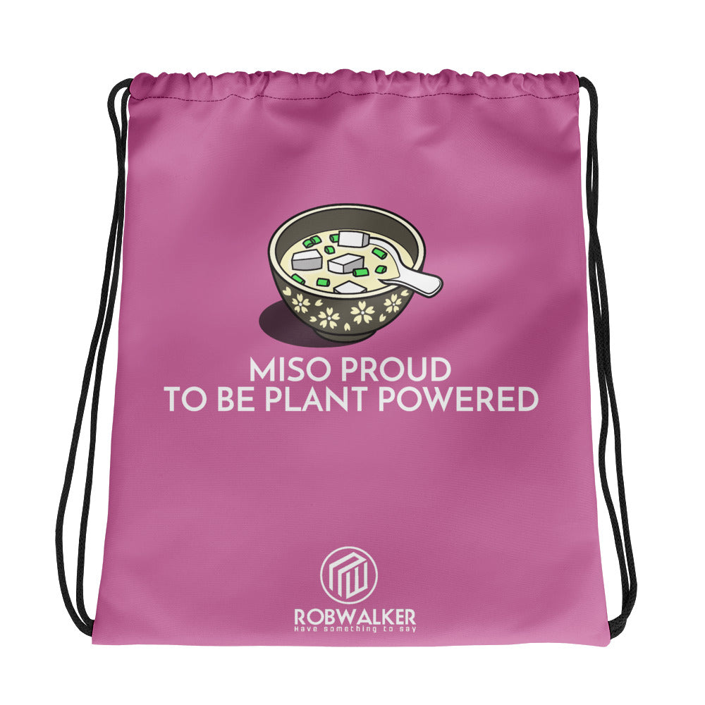 Miso Proud to be Plant based Drawstring Bag-Pink