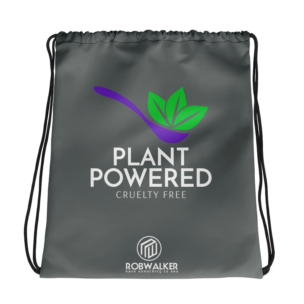 Plant Powered with Spoon Drawstring Bag