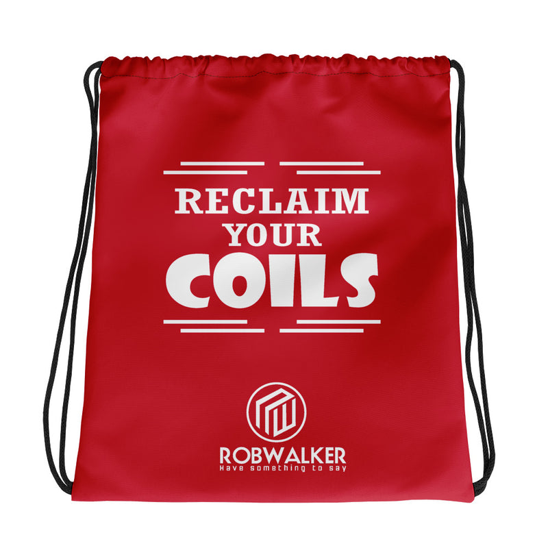 Reclaim Your Coils  Drawstring Bag-Red