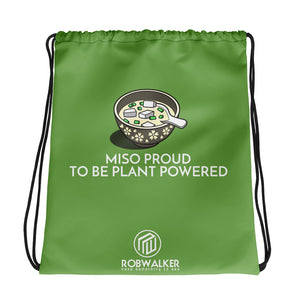 Miso Proud to be Plant Based Drawstring Bag-Green