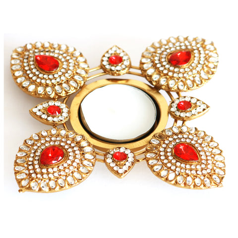 Square - Pearl, Kundan and  Stone Embossed Metal Tea Light Holder