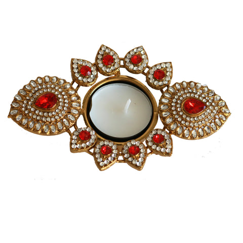 Pearl, Kundan, Stones Embossed Metal Tea Light Holder : Oval Shaped