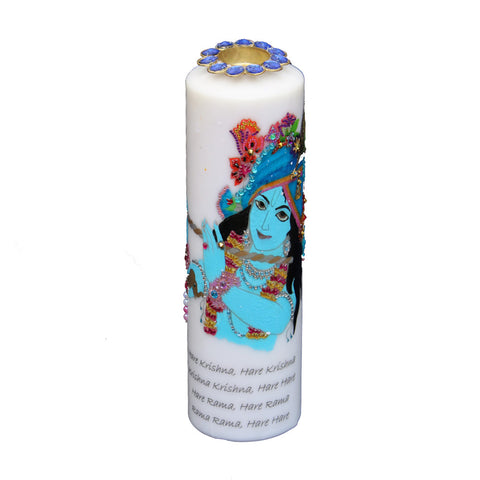 Candle with  Krishna Painting
