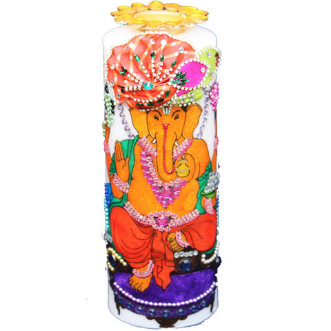 Candle with Ganesha Painting