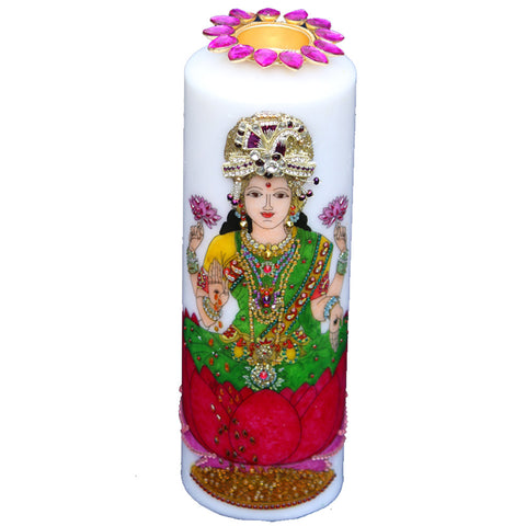 Candle with  Goddess Laxmi/Lakshmi Painting