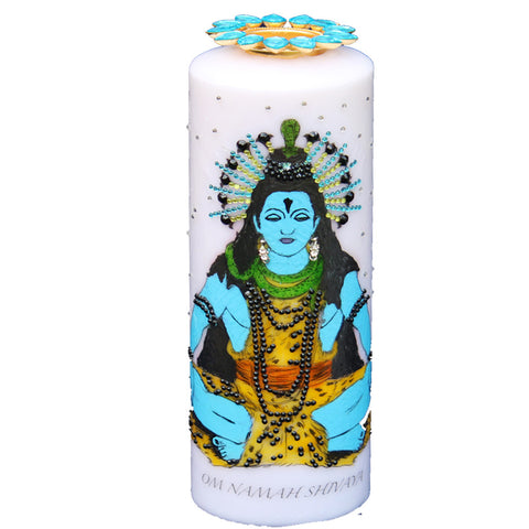 Candle with  Shiva Painting