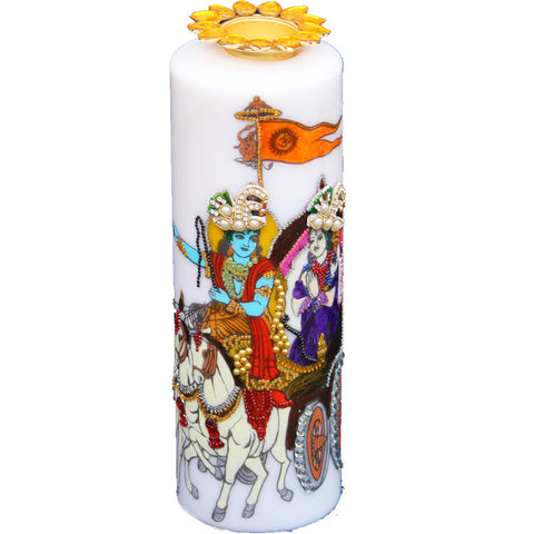 Candle with Krishna and Arjun Painting