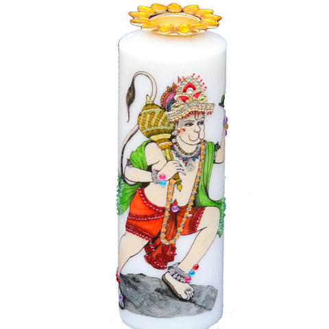 Candle with Hanuman Painting