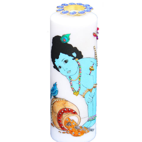 Candle with Bal Krishna Painting