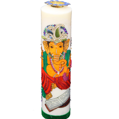 Candle with Ganesh Painting (L)