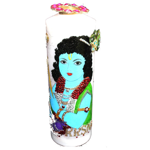 Shyam Sundar Krishna: Hand Painted Candles with T-Light Holder