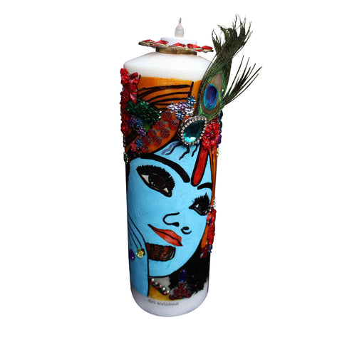 Kamal nayan Krishna : Hand Painted Candles with a Tea Light Holder